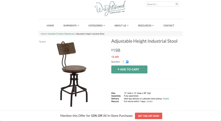 wrightwood furniture shopify store 1
